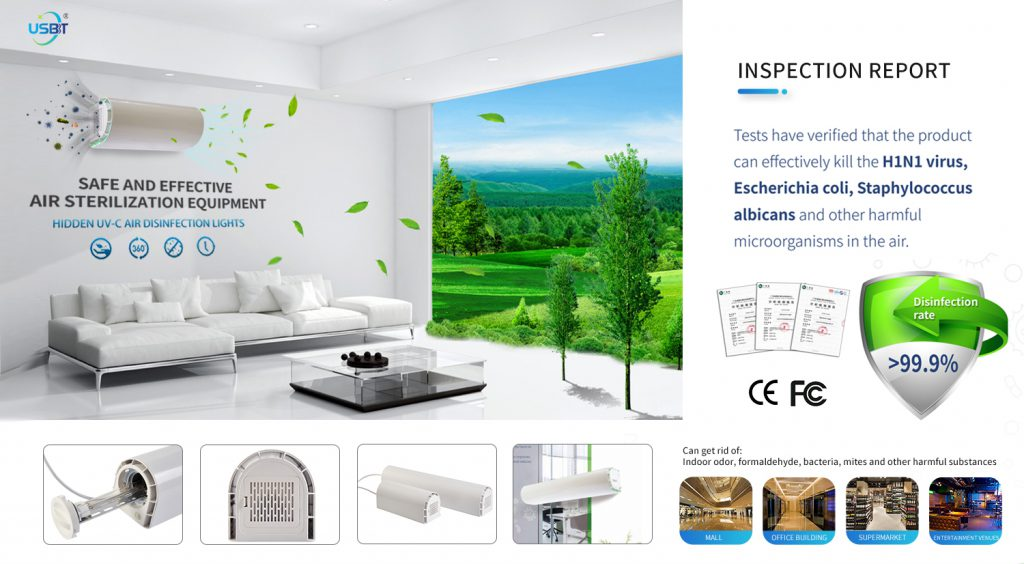Concealed air germicidal lamp, CE, FCC icon