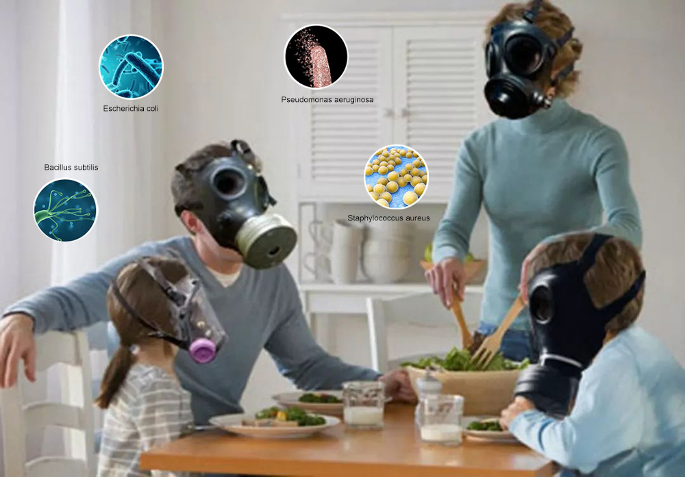 A family with protective masks, indoor bacteria and viruses