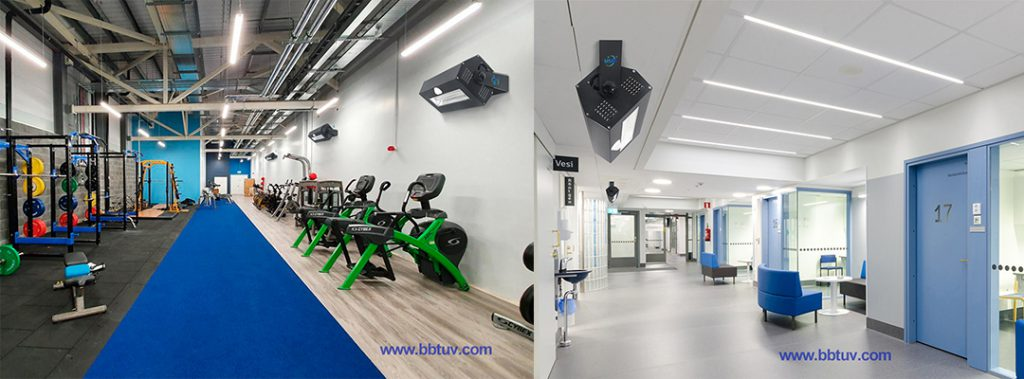 UV disinfection in fitness center, 222nm UV Lamp, 222nm Excimer Light, UV disinfection in public places in hospitals,222nm germicidal lamp application scenarios