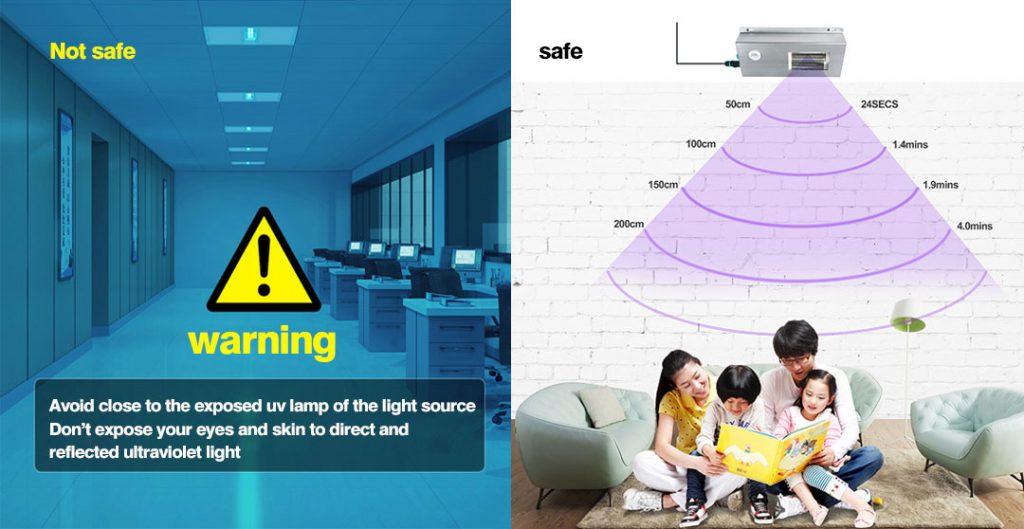 Dangerous exposed UV germicidal lamps, safe hidden UV germicidal lamps