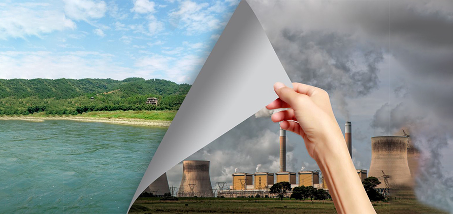 Environmental contrast, polluted environment and clean environment
