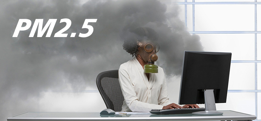 PM2.5, Indoor air pollution, Man wearing a mask in the office